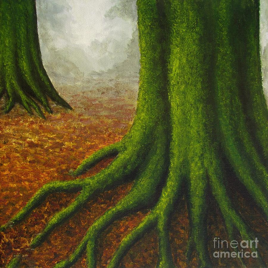 Trees Painting - Mossy Trees by Anna Bronwyn Foley