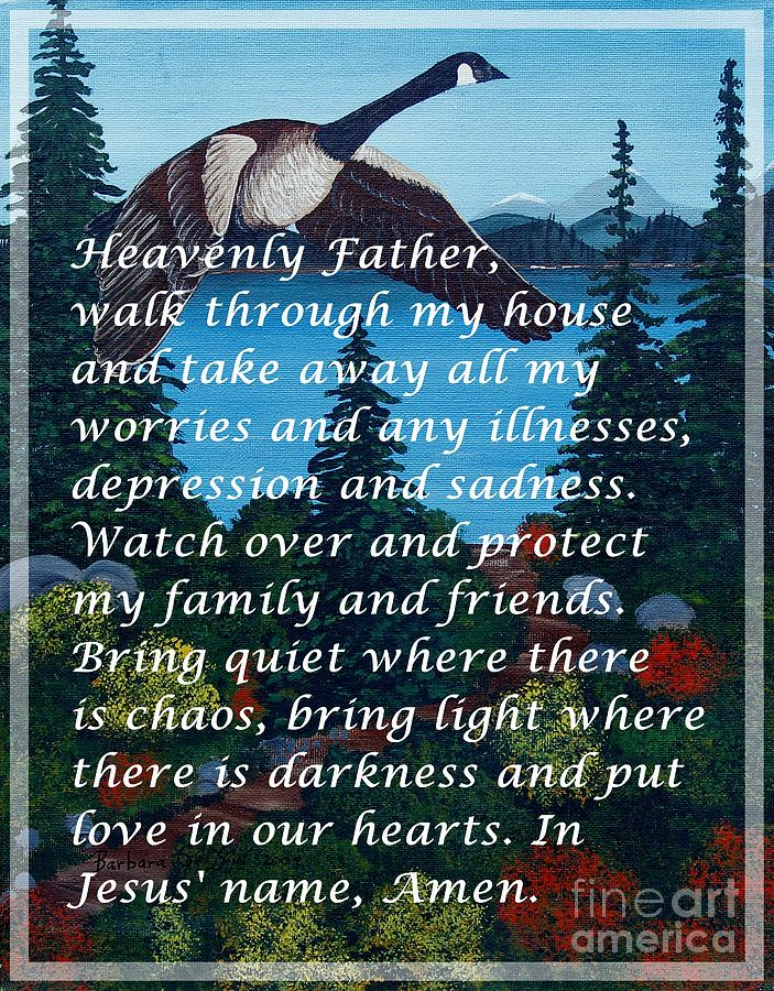 Prayer Digital Art - Most Powerful Prayer With Goose Flying And Autumn Scene by Barbara Griffin