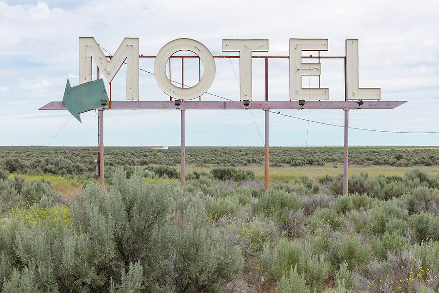 Motel Sign In Field Of Sage Brush, Out Photograph by Mint Images