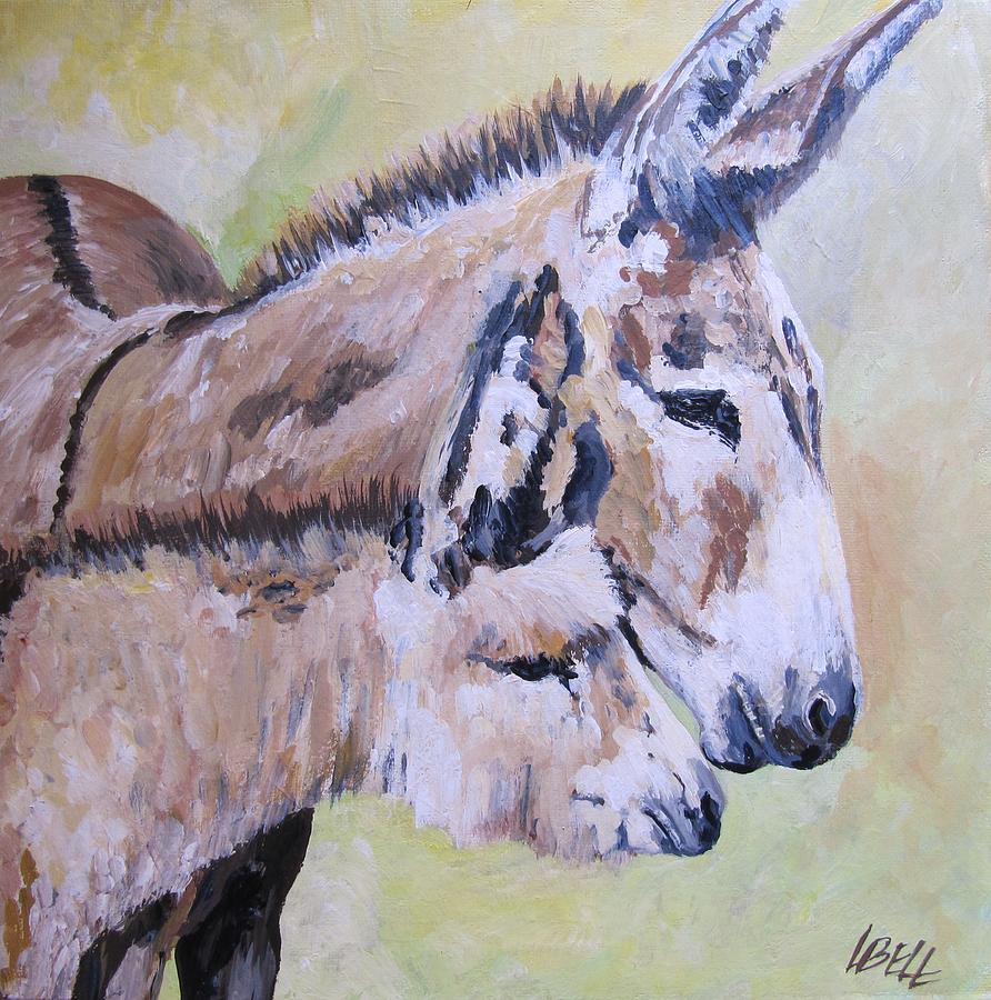 Donkey Painting - Mother And Baby by Leonie Bell
