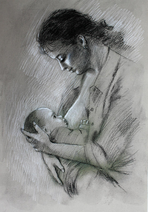 Mother Drawing - Mother And Baby by Viola El