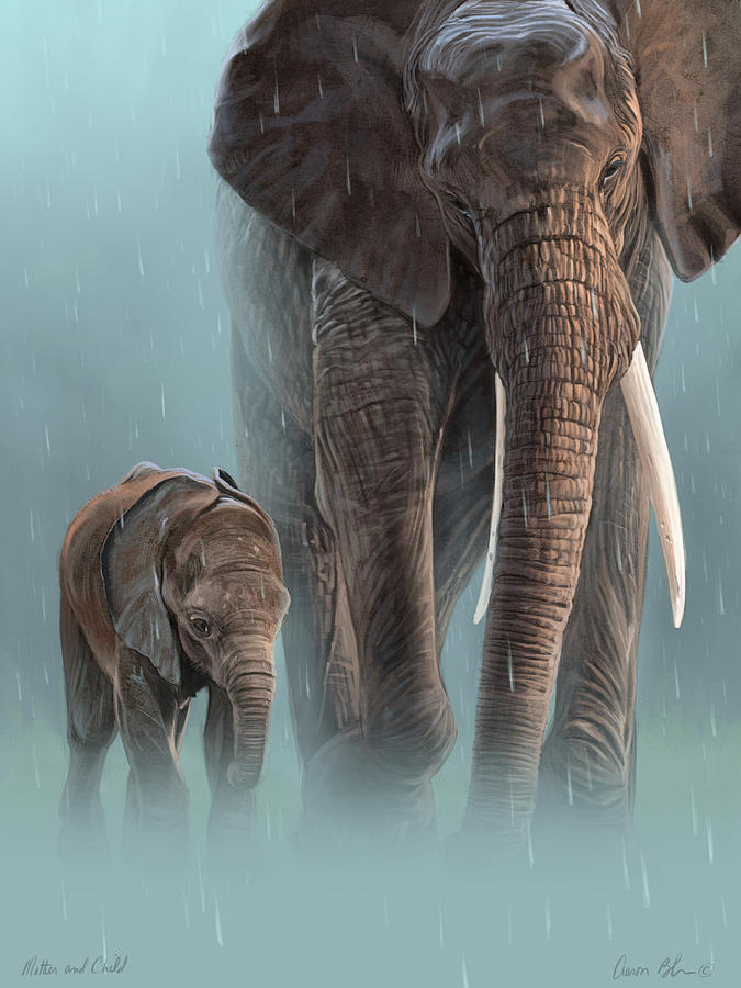 Elephant Digital Art - Mother And Child by Aaron Blaise