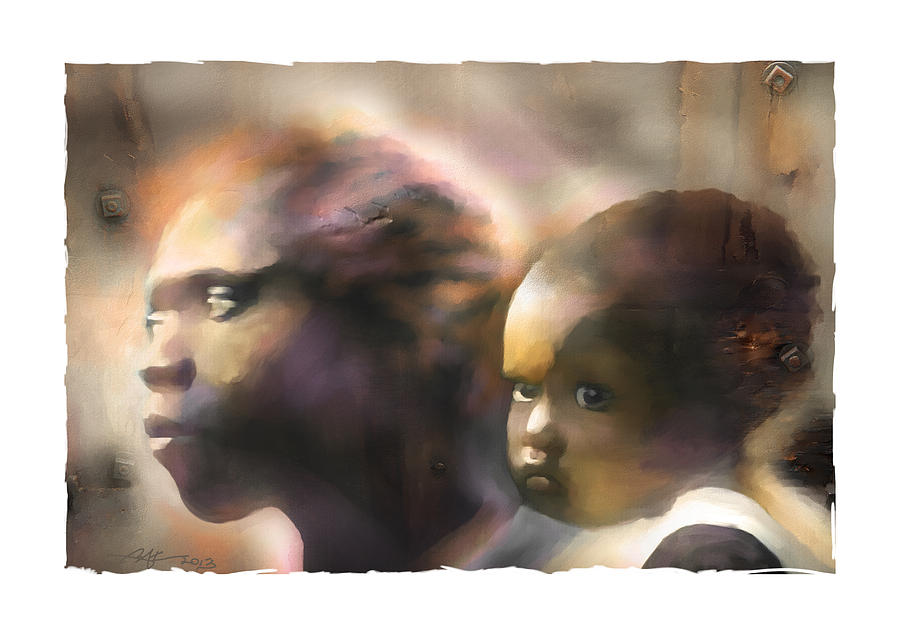 Portrait Painting - Mother And Child by Bob Salo