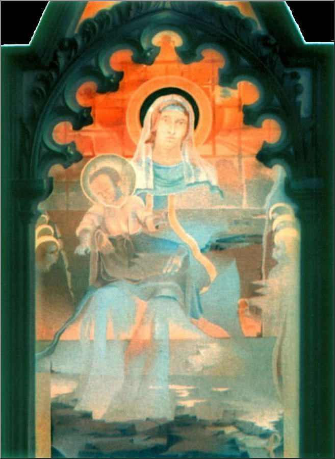 Mother Painting - Mother And Child By Fabriano 1975 by Glenn Bautista