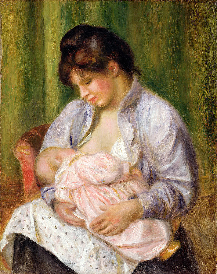 Suckling Painting - Mother And Child by Pierre Auguste Renoir