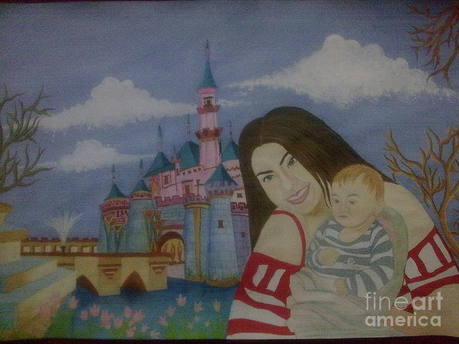 Mother And Child In Disney Painting by Syeda Ishrat