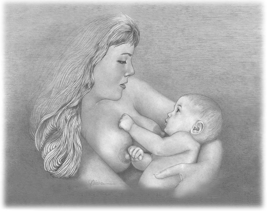 People Drawing - Mother And Child by Joe Olivares