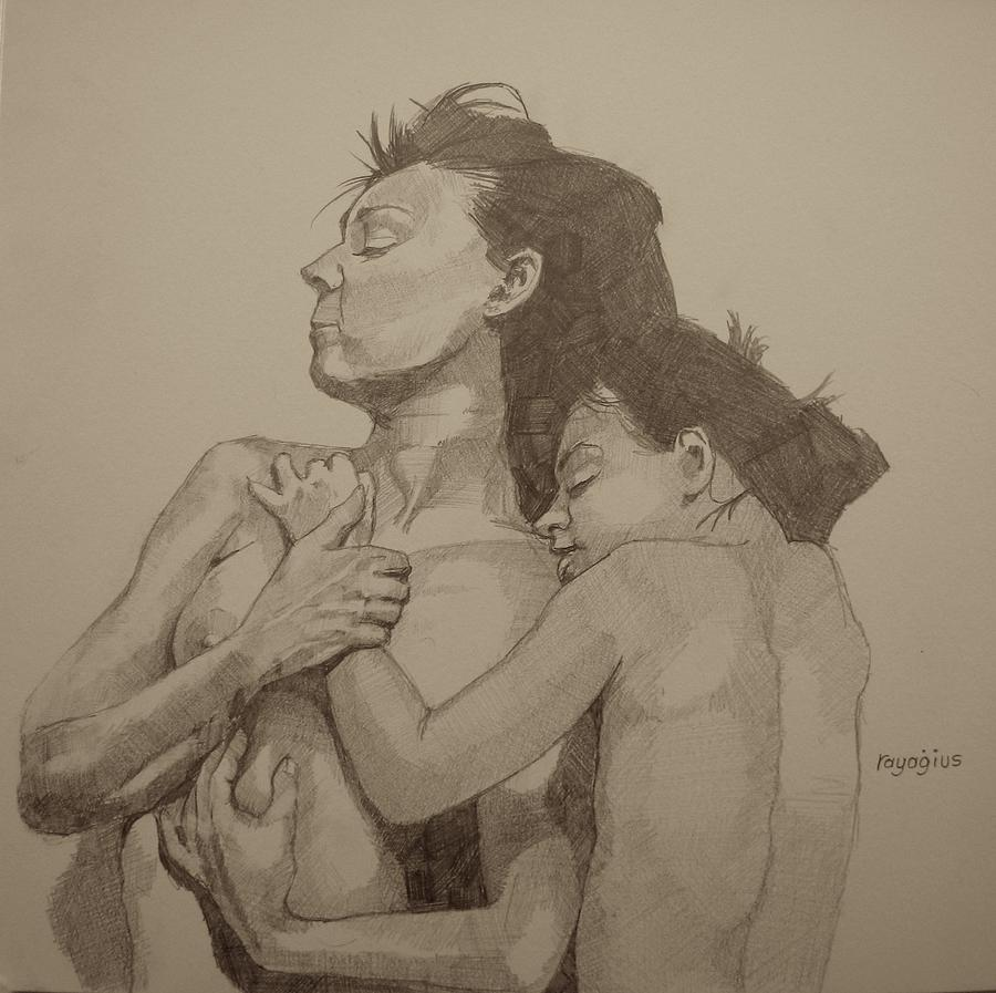 Copy Painting - Mother And Child by Ray Agius