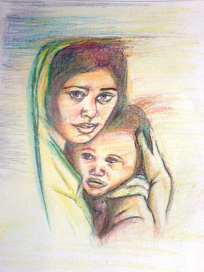 Mother And Child Drawing by Wedam Abassey