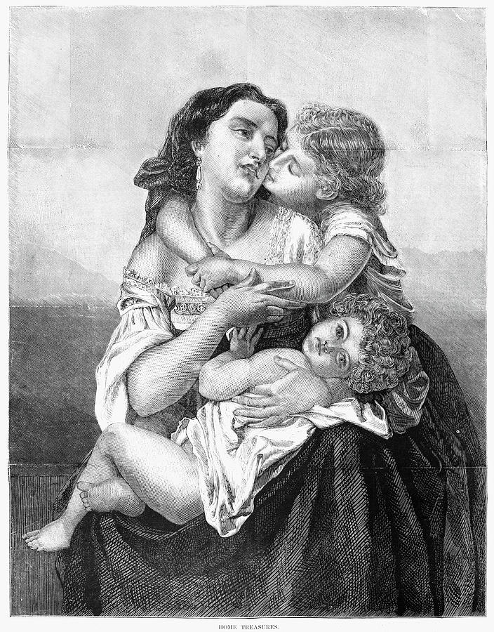 1871 Drawing - Mother And Children, 1871 by Granger