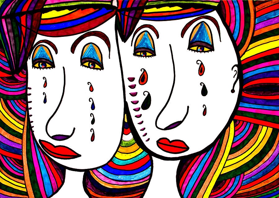 Mother And Daughter Painting - Mother and Daughter - Faces - Abstract by Marie Jamieson