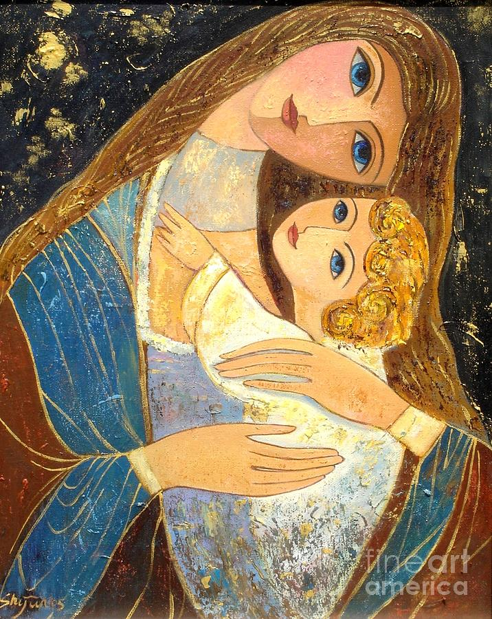 Mother And Child Painting - Mother and Golden Haired Child  by Shijun Munns