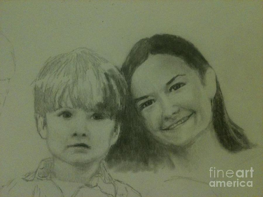 Portrait Drawing - Mother And Son by Frankie Thorpe