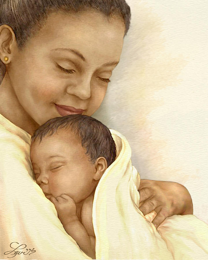 African American Painting - Mother by Beverly Levi-Parker