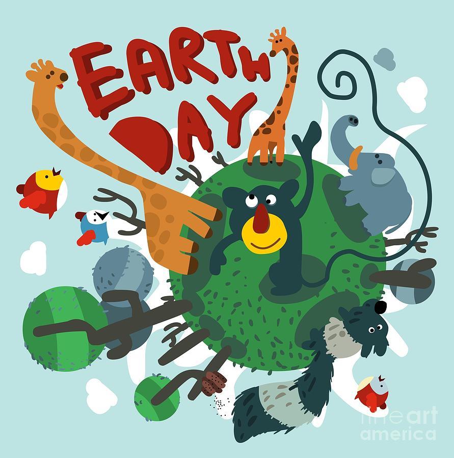 Symbol Digital Art - Mother Earth Day. Vector Illustration by Maraga