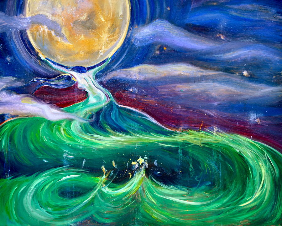 Moon Painting - Mother Earth in Her Struggle to Save the Night by Solveig Swenson