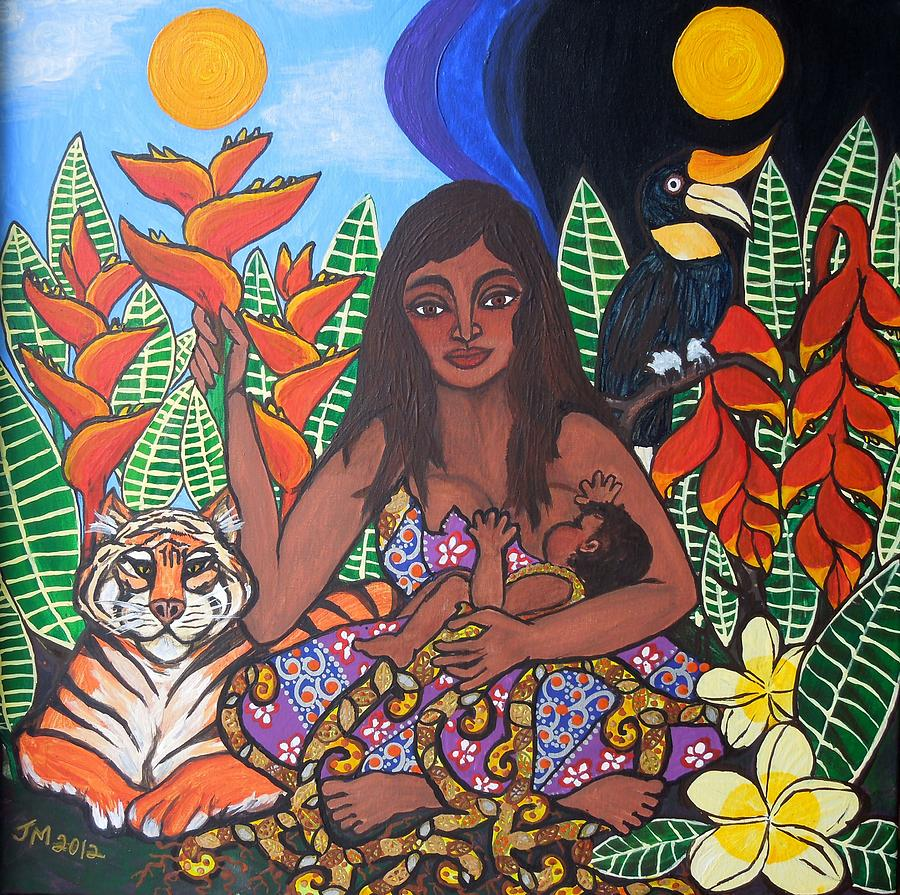 Breastfeeding Painting - Mother Earth Sustains by Jennifer Mourin