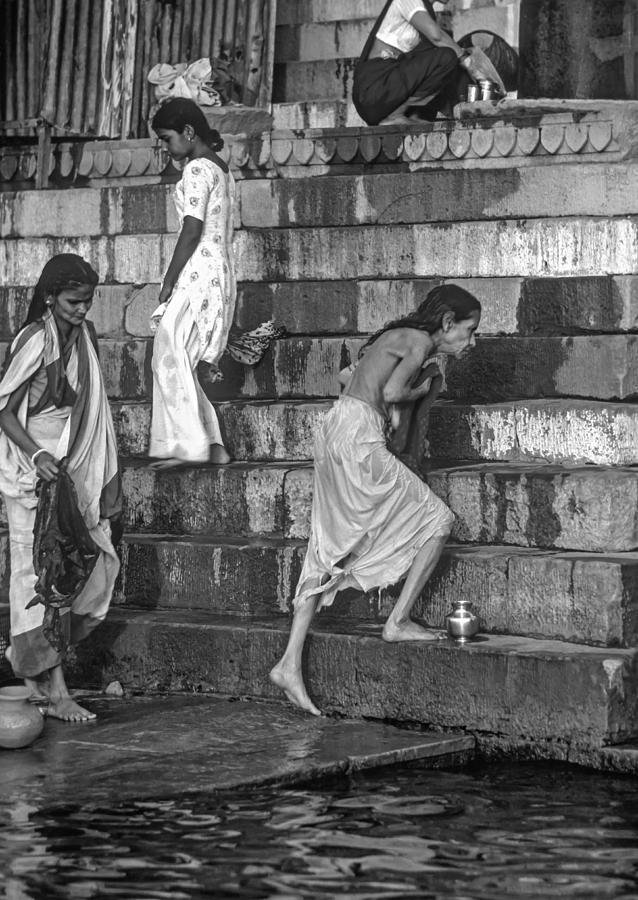 Varanasi Photograph - Mother Ganges Monochrome by Steve Harrington