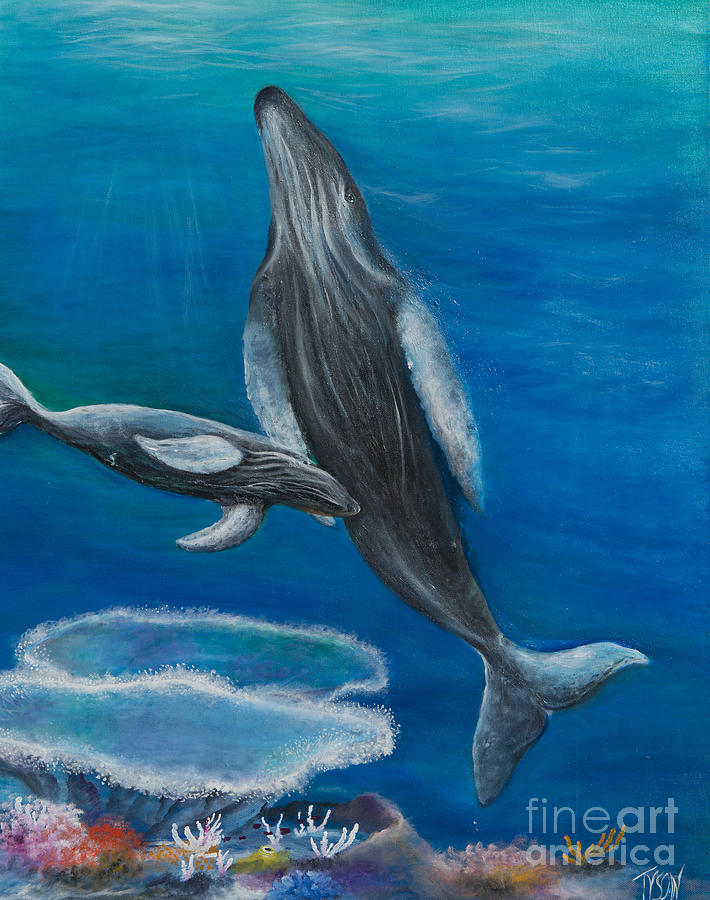 Humpback Whale Painting - Mother Humpback And Her Calf by John Garland  Tyson