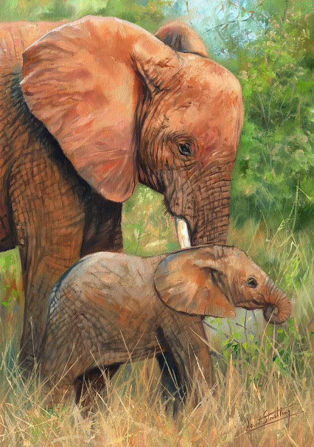 Elephant Painting - Mother Love 2 by David Stribbling