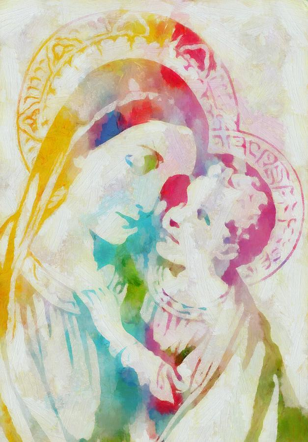 Mother Mary Watercolor Painting by Dan Sproul