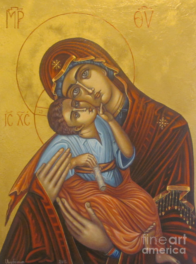 Byzantine Icon Painting - Mother Mary With Jesus by Ljubomir Ilic