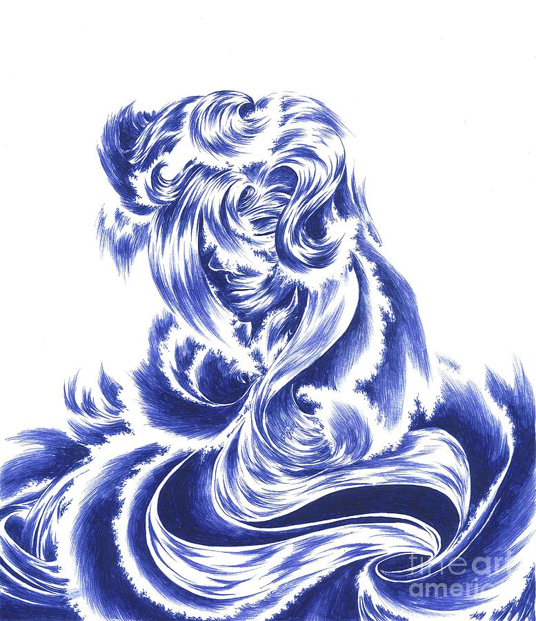 Mother Nature Drawing - Mother Nature - Face Of The Sea by Alice Chen