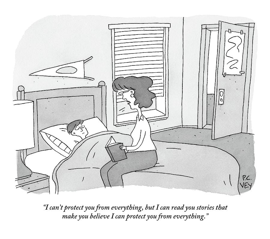 Mother Sits On The Side Of Sons Bed With Open Drawing by Peter C. Vey