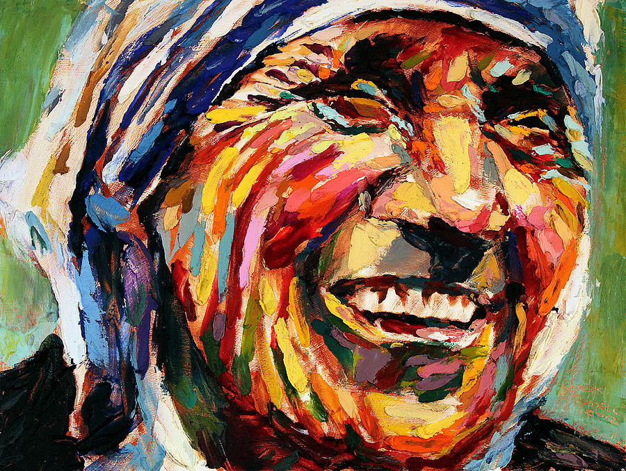 Famous Line Art Paintings : Mother teresa painting by derek russell