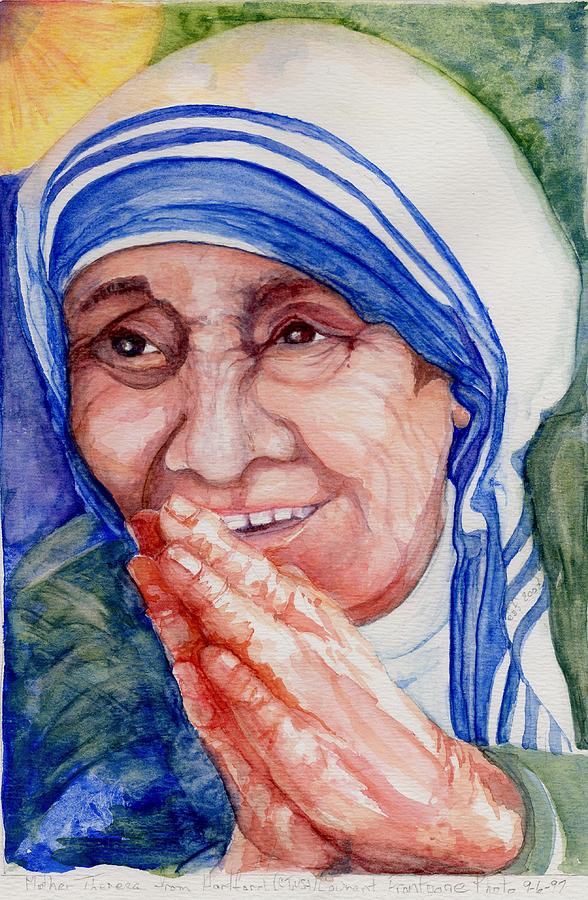 Watercolor Painting - Mother Teresa by Elle Smith Fagan