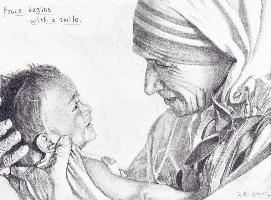Drawing drawing mother teresa with a baby by kohdai kitano