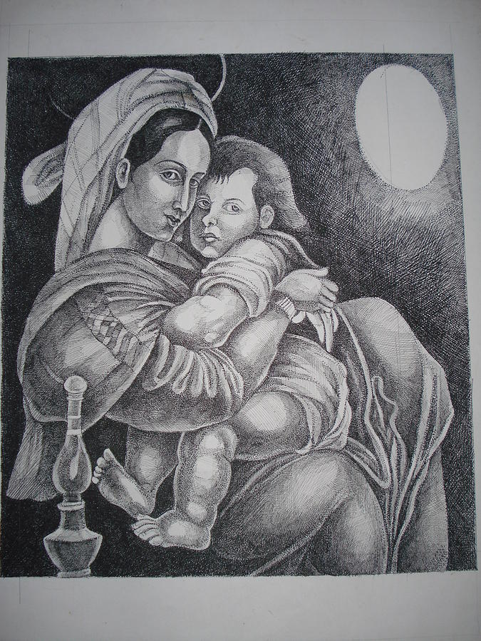 Mother Painting - Mother With Her Baby by Prasenjit Dhar