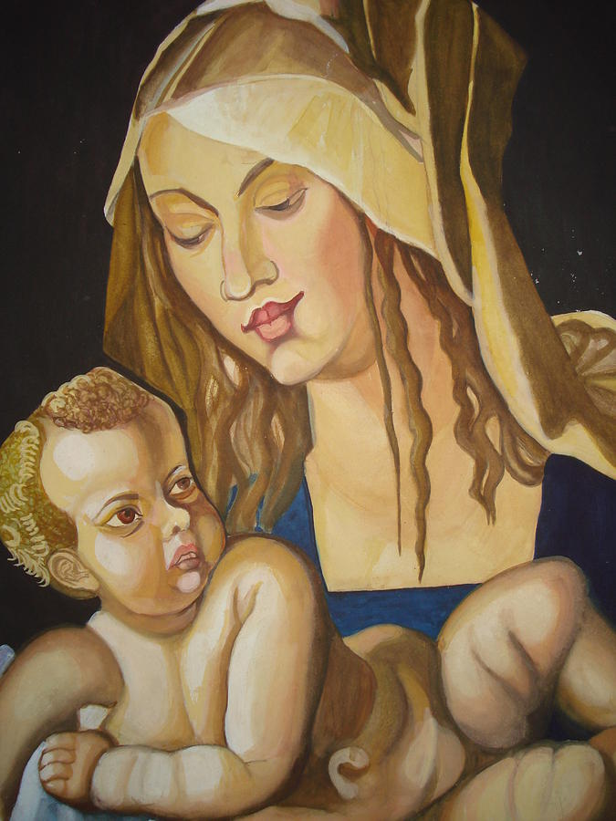 Mother Painting - Mother With Her Child by Prasenjit Dhar