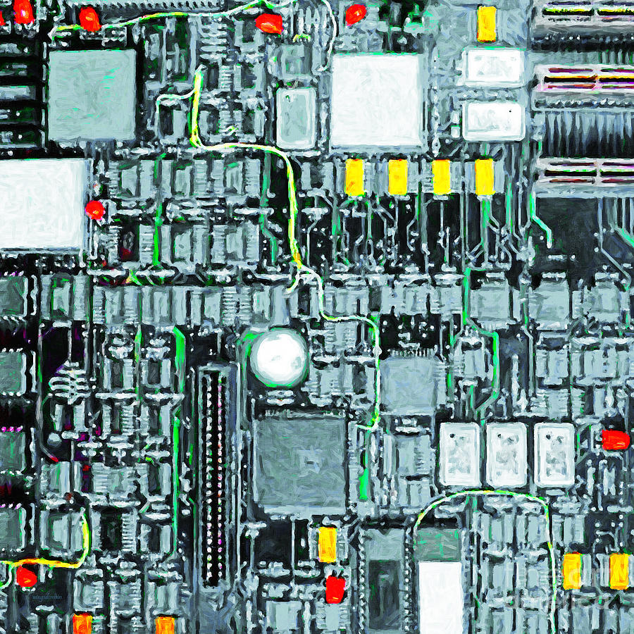 Circuit Board Photograph - Motherboard Abstract 20130716 Square by Wingsdomain Art and Photography