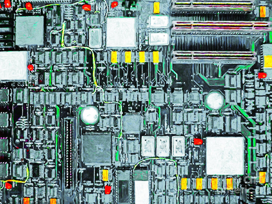 Circuit Board Photograph - Motherboard Abstract 20130716 by Wingsdomain Art and Photography