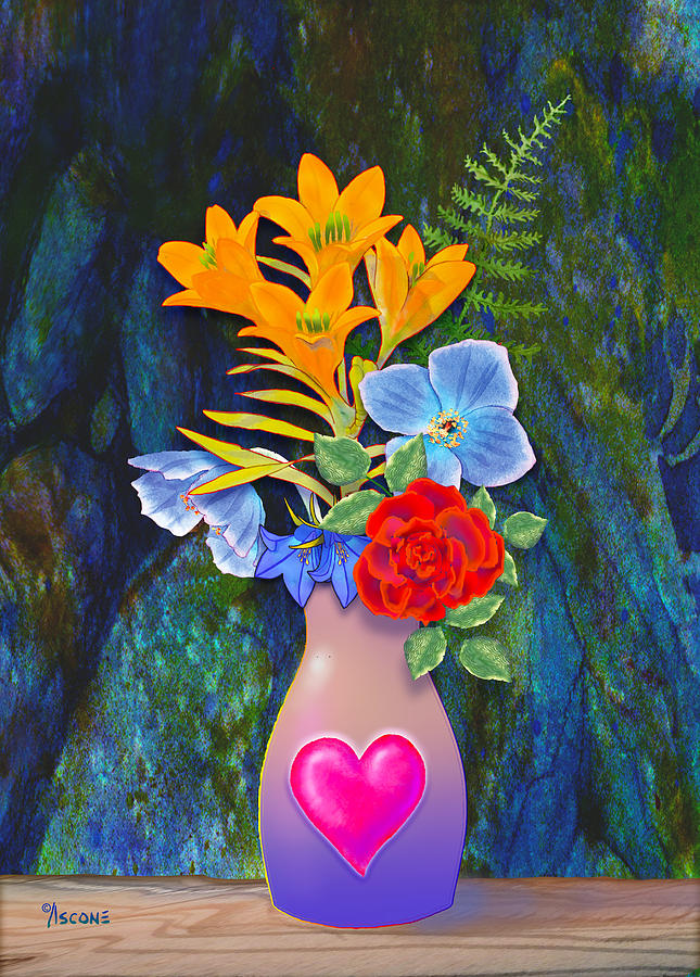 Mom Painting - Mothers Day Bouquet by Teresa Ascone