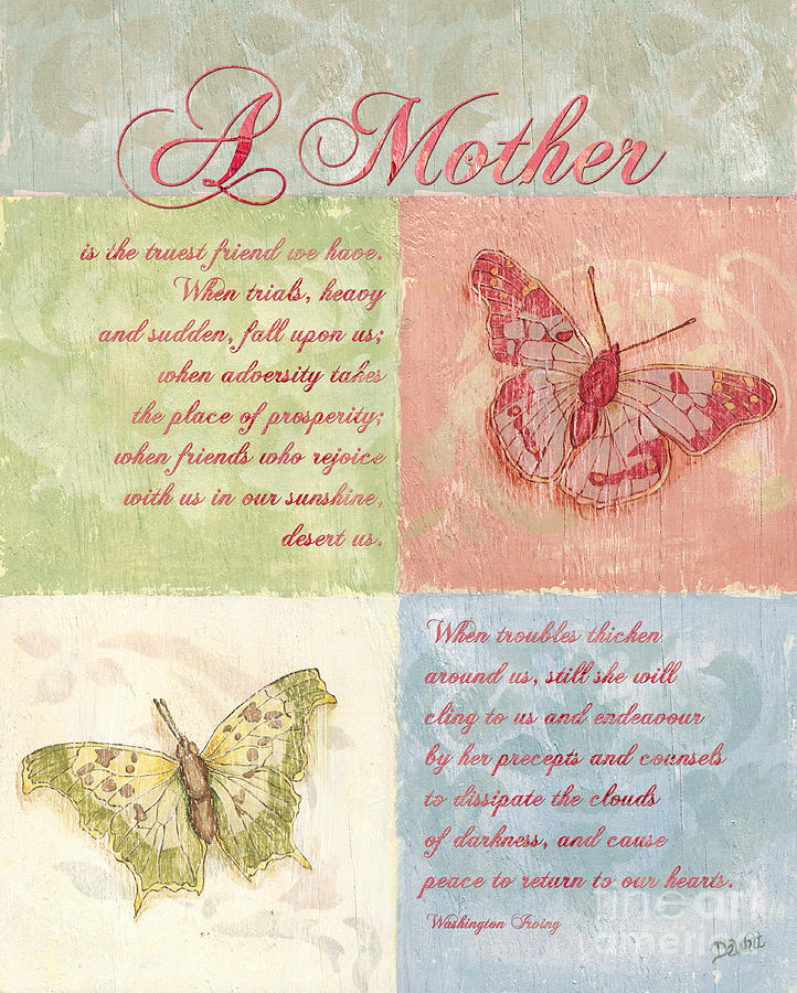 Butterfly Painting - Mothers Day Butterfly Card by Debbie DeWitt