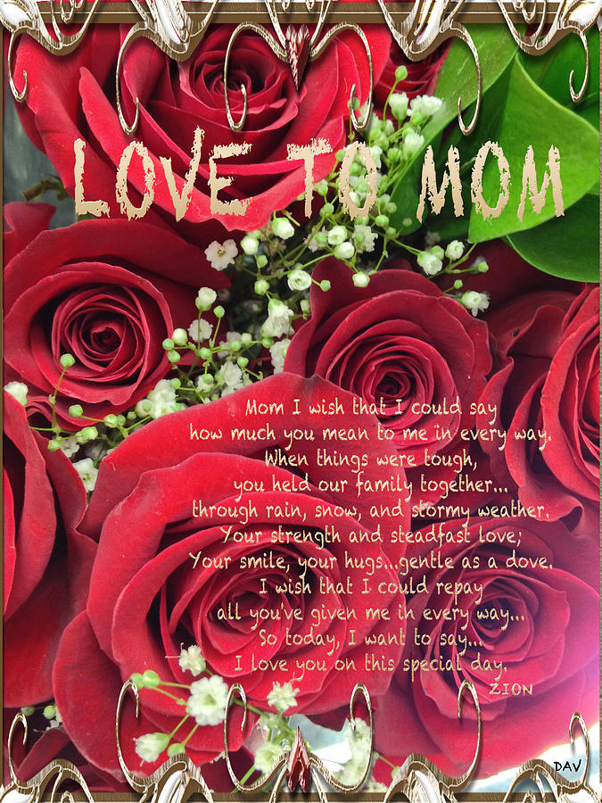 Mothers Day Card Photograph - Mothers Day Card by Debra     Vatalaro
