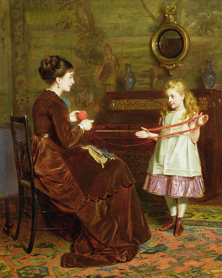 Winding Painting - Mothers Little Helper by George Goodwin Kilburne