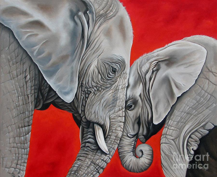 Elephant Painting - Mothers Love by Ilse Kleyn
