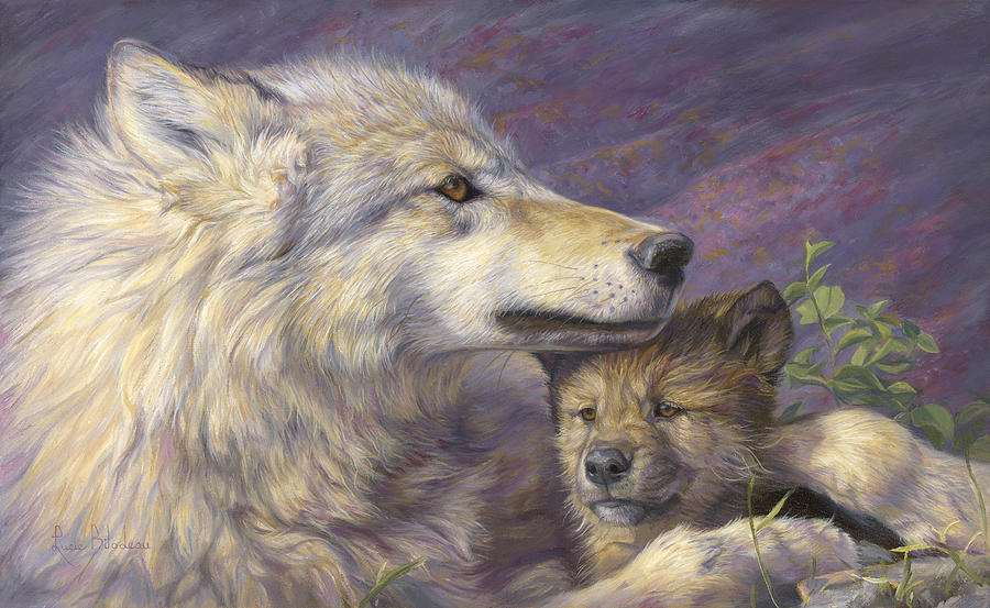 Wolf Painting - Mothers Love by Lucie Bilodeau