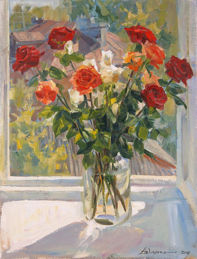 Roses Painting - Mothers Roses by Victoria Kharchenko