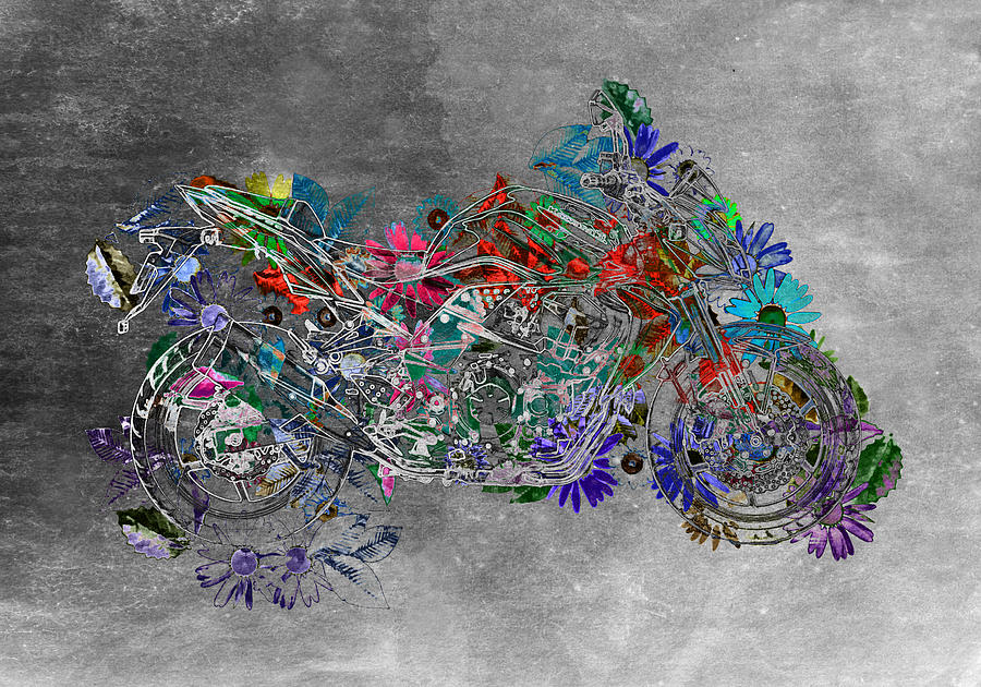 Gray Digital Art - Moto Art  Floral Sp01bb by Variance Collections