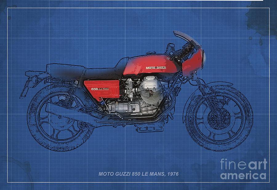 Le Mans Mixed Media - Moto Guzzi 850 Le Mans 1976 by Pablo Franchi