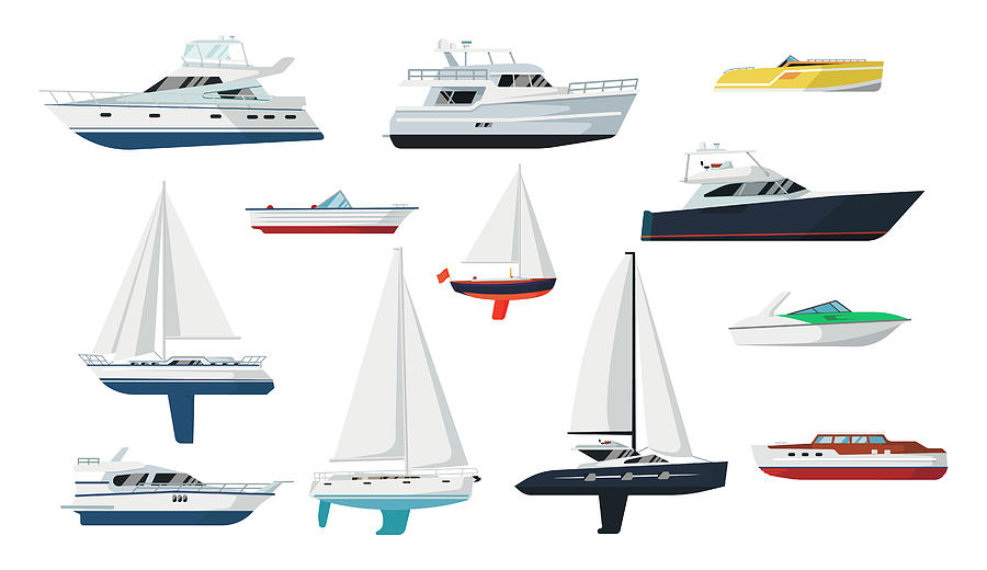 Motor Boat And Sailboat Set Digital Art by Primo-piano