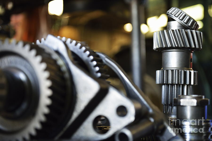 Gear Photograph - Motor Gears To Be Assembled by Sami Sarkis