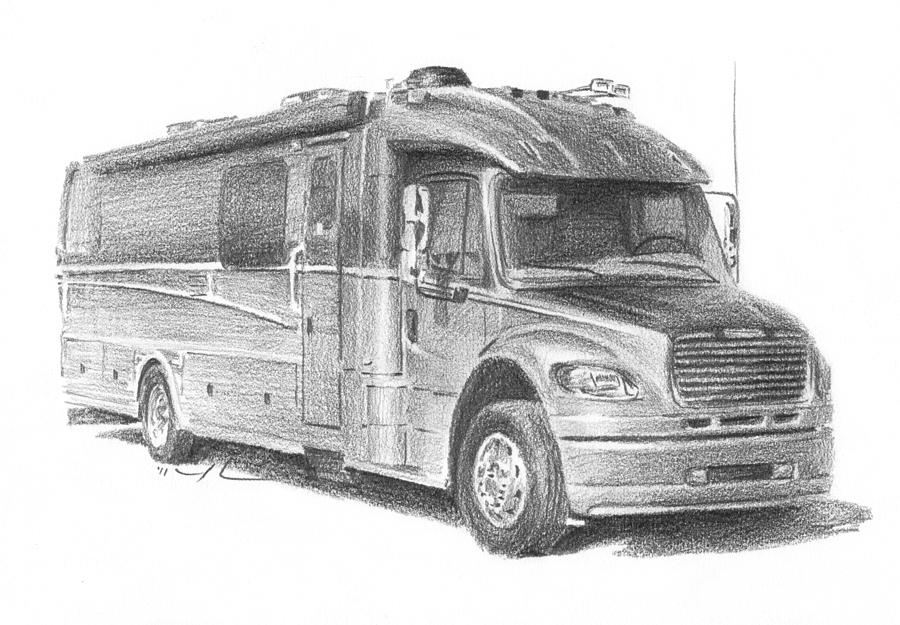 Motor Home Pencil Portrait Drawing by Mike Theuer