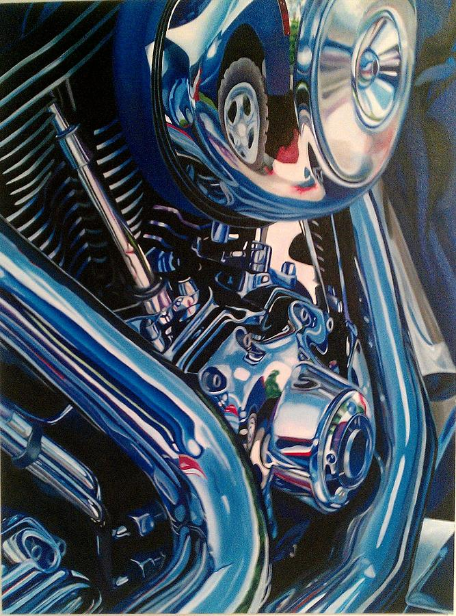 Motorcycle Painting - Motorcycle Abstract by Molly Gossett