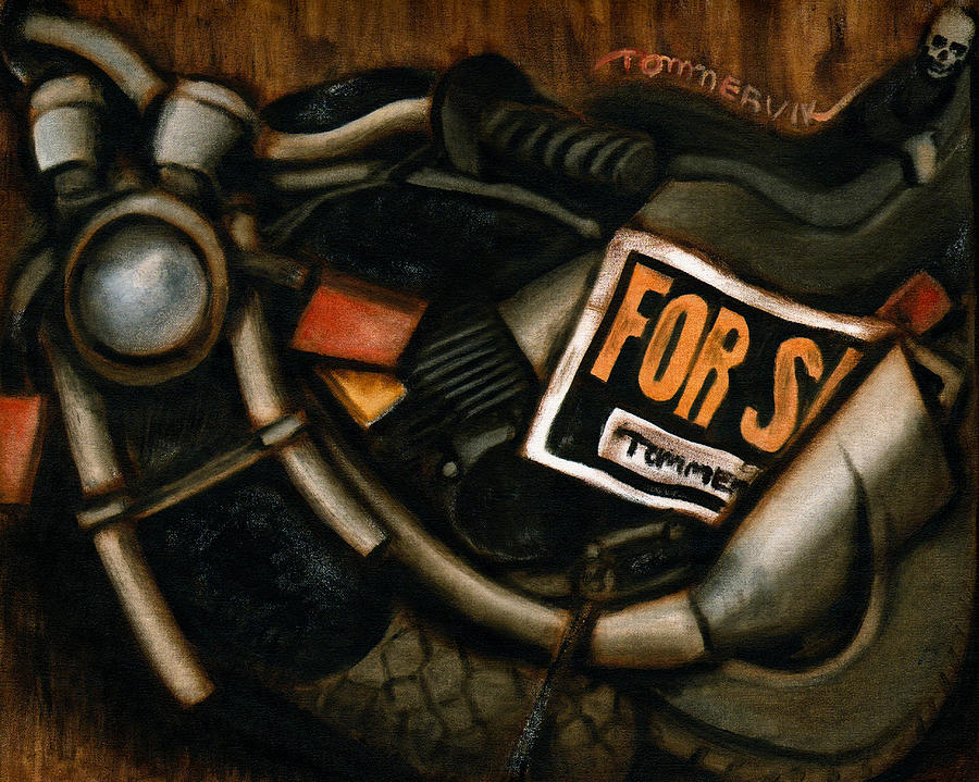 Motorcycle Painting - Used Motorcycle For Sale Art Print by Tommervik