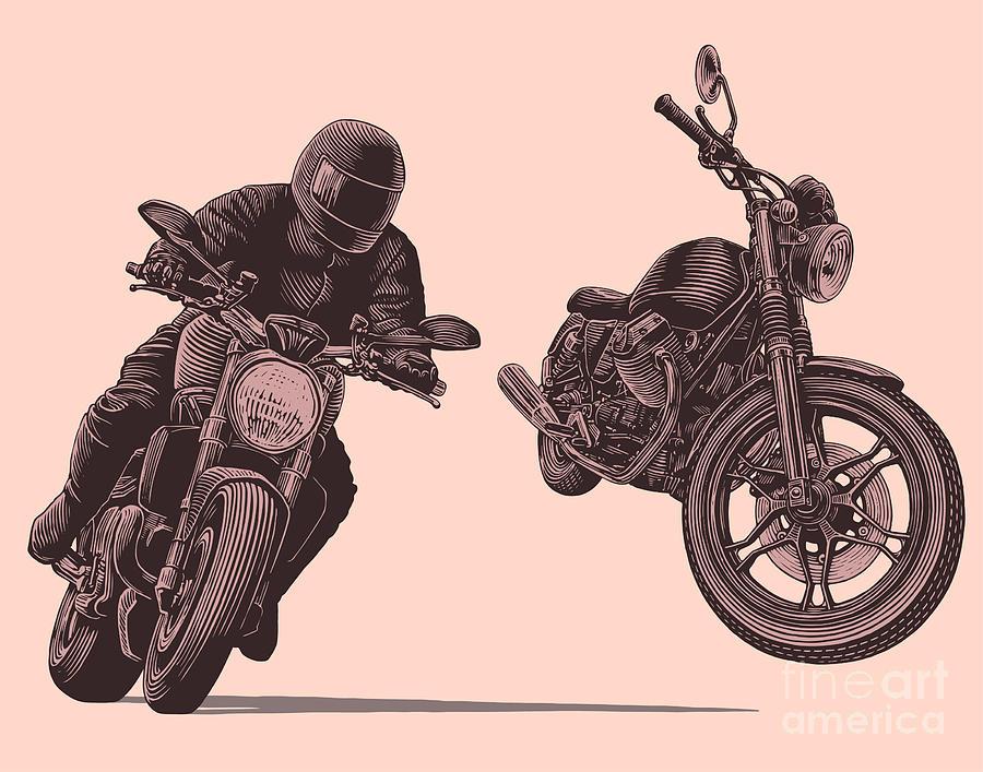 Symbol Digital Art - Motorcycle. Hand Drawn Engraving by Marzufello